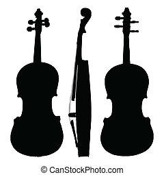 violino, antigas, silueta, lados
