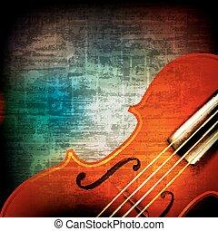 violino, astratto, grunge, fondo