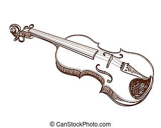 violino, branca, mão, desenhado