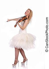 violino, branca, mulher, jogos, vestido