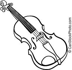 violino, caricatura, ilustração, coloração, página