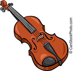 violino, caricatura, ilustração, corte arte