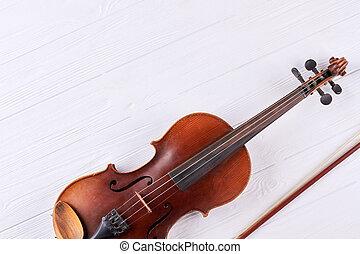 violino, com, violino, vara, e, cópia, space.