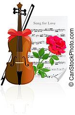violino, con, rosa