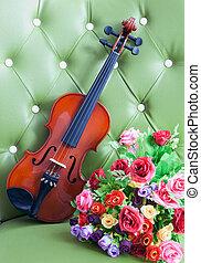 violino, couro, textura, fundo