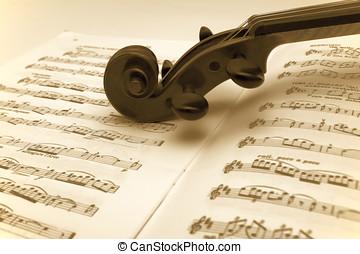 violino, descansar, música folha, vindima