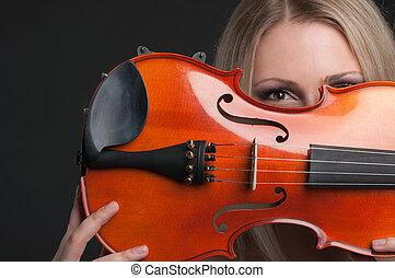 violino, donna, giovane, presa a terra