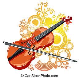 violino, e, abstratos, padrão
