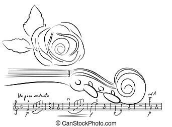 violino, e, rosa, linhas