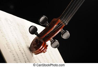 violino, elegante, tiro, música folha
