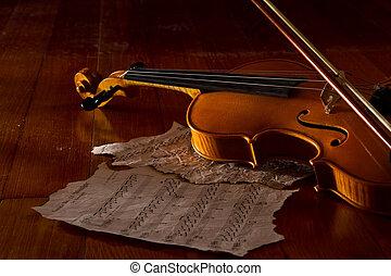 violino, folha, e, música