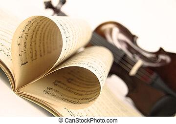 violino, folha música