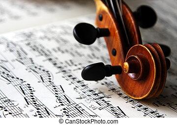 violino, folha, scroll, música