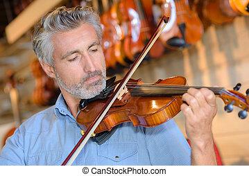 violino, gioco, uomo