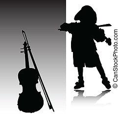 violino, jogo, criança