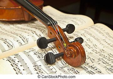 violino, ligado, folha música