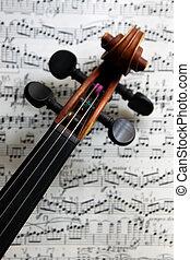 violino, ligado, música folha