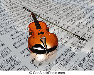 violino, ligado, música folha, fundo, com, nuvens, refletir