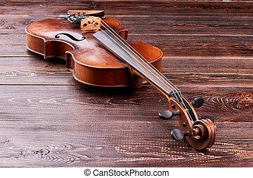 violino, ligado, marrom, madeira, experiência.