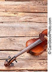 violino, ligado, pranchas madeira, e, cópia, space.