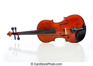 violino, ligado, um, fundo branco