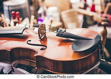 violino, luthier, su, officina, fondo, chiudere