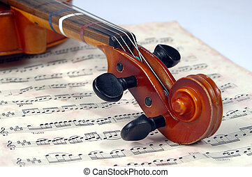 violino, miusic, scroll, folha