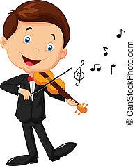 violino, pequeno, tocando, caricatura, menino