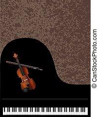 violino, piano, fundo, grandioso