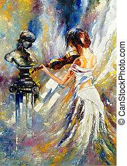 violino, ragazza, gioco