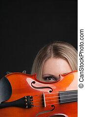 violino, ragazza, presa a terra