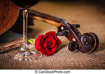 violino, rosa, scroll, vermelho, fim