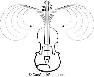 violino, símbolo, de, música clássica
