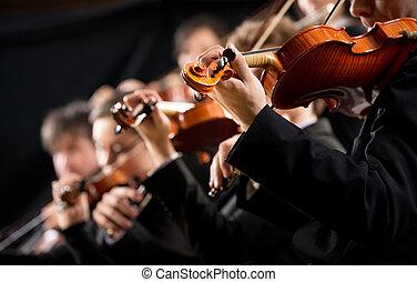 violino, seção, orquestra, primeiro