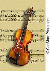 violino, su, musica foglio