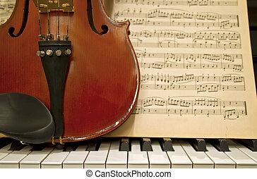 violino, teclas piano, e, música, folhas