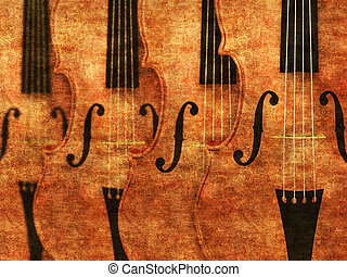 Violins in a row background - Grunge illustration of 3d...