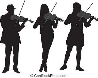 violist, silhouette