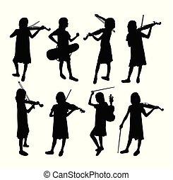 violist, silhouettes