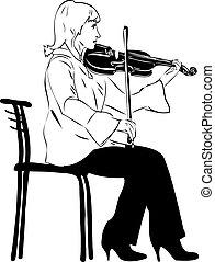 violist, terwijl, spelend, blonde, zittende