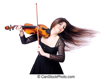 violon, blanc, interprète, jeune