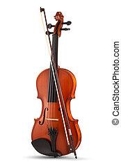 violon, blanc, isolé, fond, arc