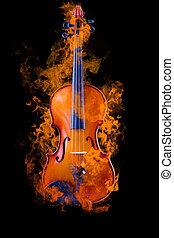 violon, brûlé