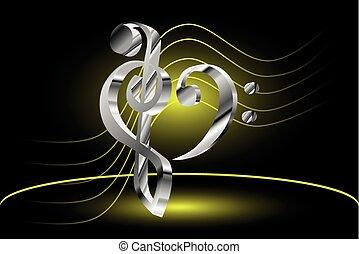 violon, coeur, -, clé de fa