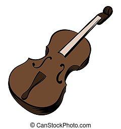 violon, dessin animé, icône