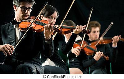 violon, exécuter, orchestre