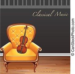 violon, fauteuil