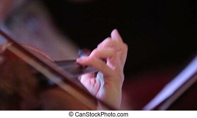 violon, femme, jouer