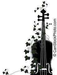 violon, fin, lierre