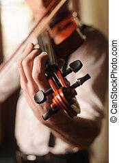 violon, gros plan, jouer, homme